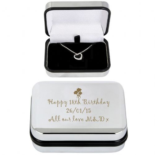 Personalised Heart Necklace and Box.